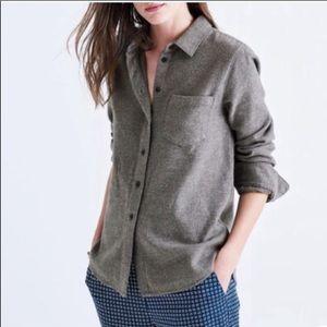 Madewell Gray Shrunken Button Up Shirt Top